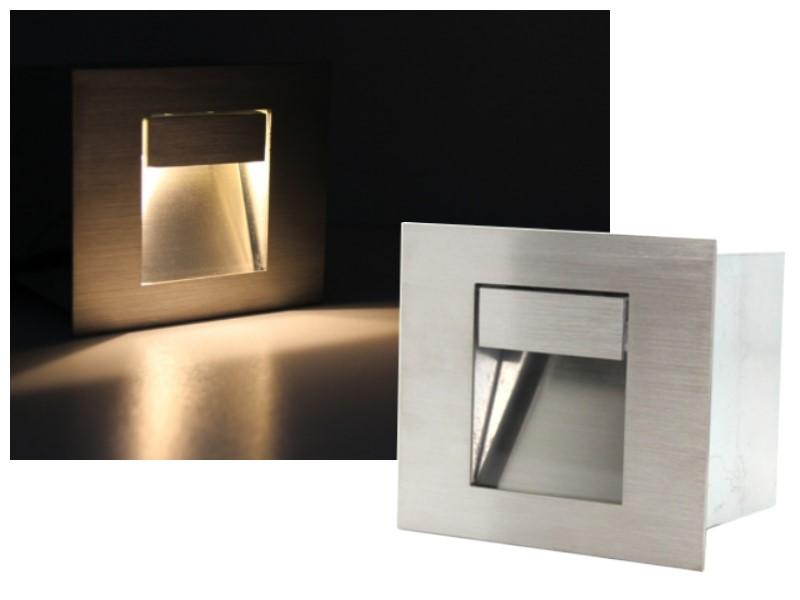 edelstahl led wandeinbauleuchte 1w warmweiss eckig ip44 wasserdicht 230v ebay. Black Bedroom Furniture Sets. Home Design Ideas
