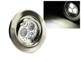 LED Einbaustrahler Downlight chrom-matt 230V schwenkbar 3W weiss