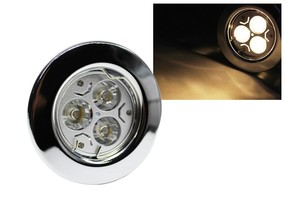 LED Einbaustrahler Downlight chrom 230V starr 3W warmweiss