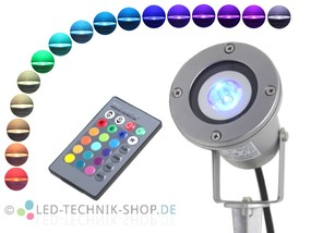 RGB LED Gartenstrahler IP68 Alu silber