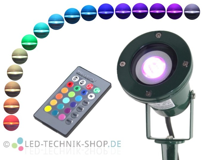 rgb led gartenstrahler ip68 alu gr n gartenstrahler mit erdspie au enleuchten led technik. Black Bedroom Furniture Sets. Home Design Ideas