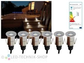 6er Set LED Bodeneinbaustrahler Edelstahl rund