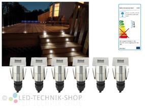 6er Set LED Bodeneinbaustrahler Edelstahl eckig