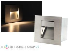 Edelstahl LED Wandeinbauleuchte 1W eckig IP44