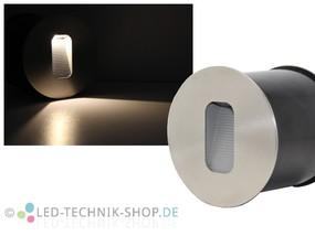 Edelstahl LED Wandeinbauleuchte 3W rund IP65