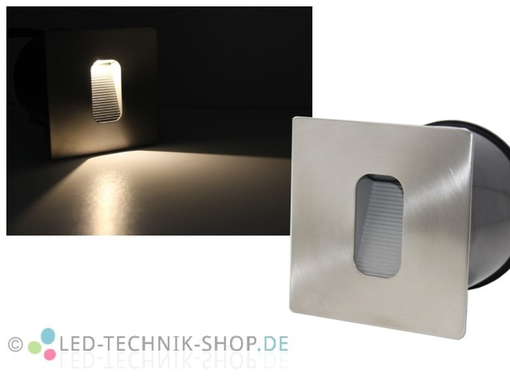 edelstahl led wandeinbauleuchte 3w eckig ip65. Black Bedroom Furniture Sets. Home Design Ideas