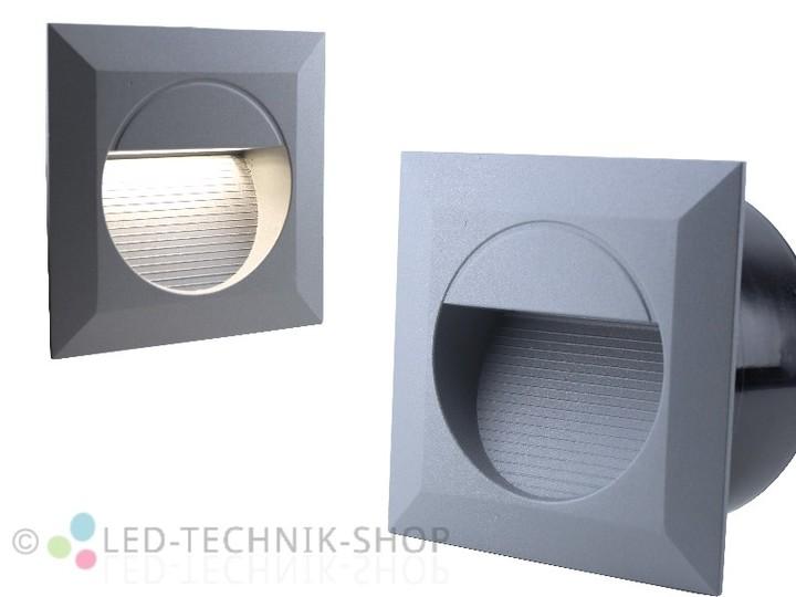 led wandeinbauleuchte ip65 230v 1 2w silber grau eckig wandeinbauleuchten innenleuchten. Black Bedroom Furniture Sets. Home Design Ideas