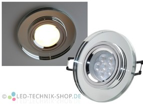LED Glas Design Einbauleuchte 230V 6W warmweiss