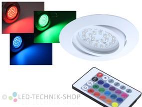LED Einbaustrahler FLAT weiss 3W RGB