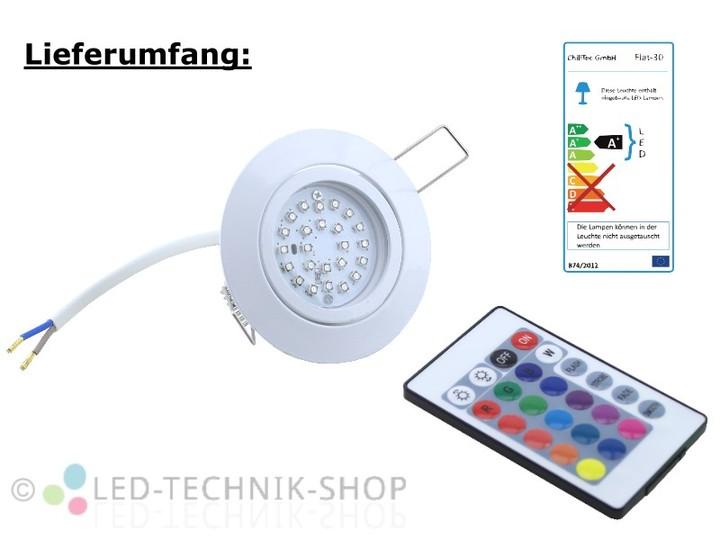 LED Einbaustrahler FLAT weiss 3W RGB  Deckeneinbauleuchten  Innenleuchten  LED-TECHNIK-SHOP